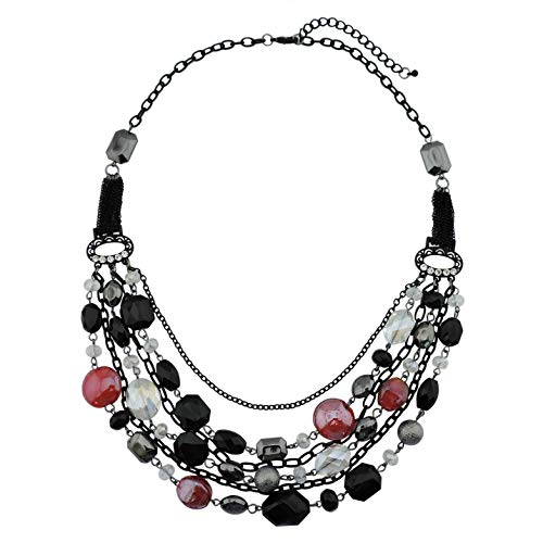 Bocar Newest Multi Layer Chain Crystal Colored Glaze Statement Women Strand Necklace (NK-10061-black+red)
