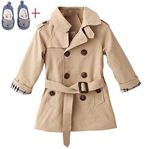 (LSERVER Kids Boys Trench Coat Toddler Girls Windbreaker Autumn Spring Jacket Children Outwear British Coats Camel)