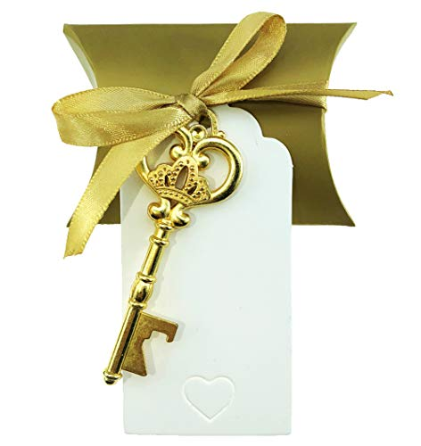 50 pcs Vintage Skeleton Key Bottle Openers Wedding Favor Souvenir Gift Set Birthday Baby Bridal Shower Party Favors Bottle Opener for Guests with Pillow Candy Box Crown Golden 50pcs