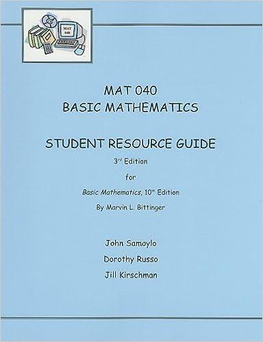 Basic mathematics (10th edition): marvin l. Bittinger.
