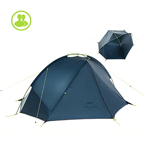 Naturehike 1/2 Person Ultralight Backpacking Tent Outdoor Camping Single Layer Waterproof Tent(Dark blue and Green color options)(2 Person,Dark blue)