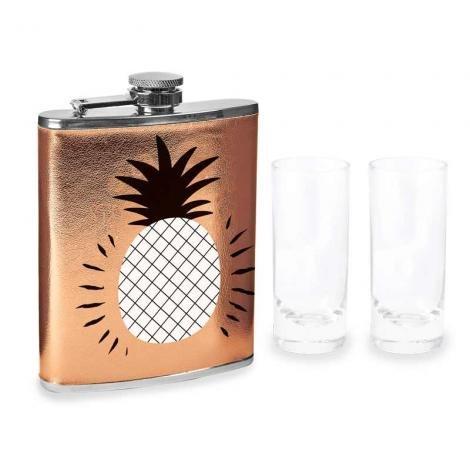 Wild Eye Designs Rose Gold Pineapple Flask 7 Fl Oz; 2X Shot Glasses 2. 5 Fl Oz S/3