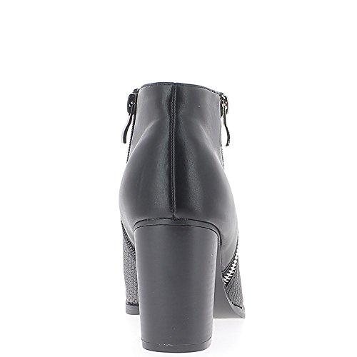 Bottines basses noires à talon épais de 8cm bi matière