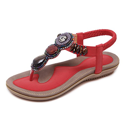 Sandalias Amazing Bohemia Rhinestone del Grano de Las Mujeres Bohemia Folk Redondo Dedo del pie Boho Beach Flat Elástico T-Correa Zapatos (Tamaño : EU41/UK7.5-8/CN42)