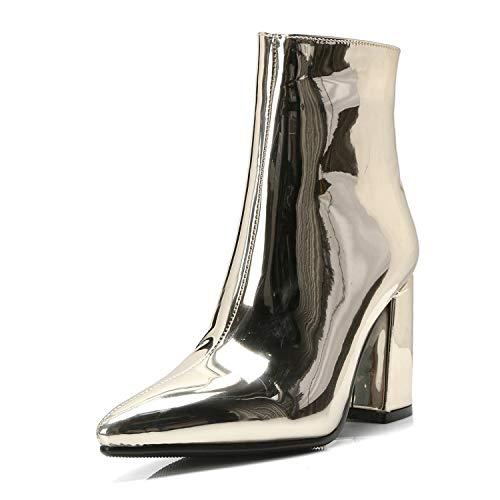 HRCxue Pumps Pumps Pumps Gold und Silber sexy Spitze Stiefel mit dicken Wilden Martinstiefeln, Gold, 34 3f5c20