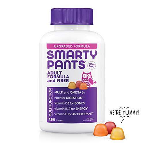 SmartyPants Adult Formula&Fiber Daily Gummy Vitamins:Multivitamin, Inulin Prebiotic Fober,Omega 3(DHA/EPA)Fish Oil,Folate(Methylfolate,Methyl B12,Vitamin D3,180 Count(30 Day Supply)-Packaging May Vary