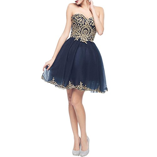 (Lemai Tulle Short Gold Lace Corset Prom Homecoming Cocktail Dresses Dark Navy US 2)