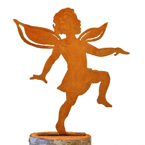 Elegant Garden Design Dancing Girl Fairy, Steel Silhouette with Rusty Patina