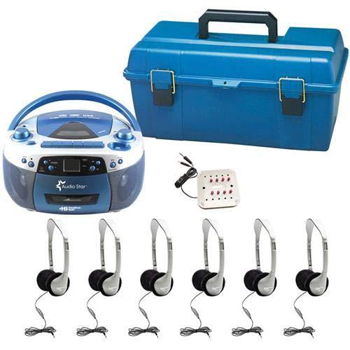 HamiltonBuhl AudioStar Optima - 6ステーション リスニングセンター USB CD カセット ラジオブームボックス付き B071FFDFL1