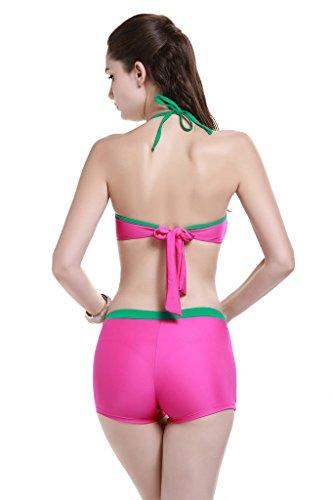 Le Besi la moda para la Mujer Elegante De Tres Piezas inspirado Bañador Bikini rosa (b)