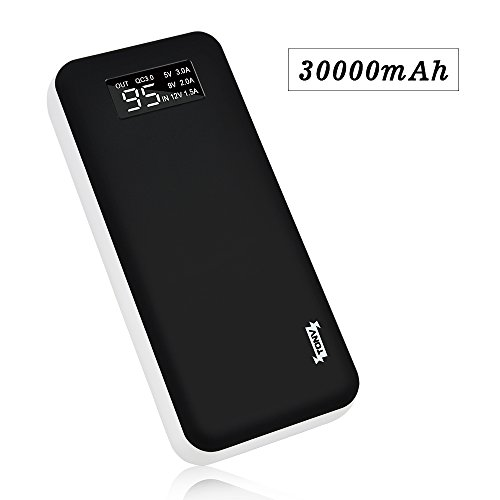 Quick Charge 3.0 TONV 30000 Portable Charger 30000mAh Power Bank (2.1A input,LED power display, Li-polymer Battery) Portable Battery Charger for iPhone X 8 Plus Smartphones Tablets (BLACK)
