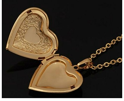 "18K Gold Plated Heart Locket Pendant Necklace Photo 22"" Link Chain Gift Bag from Unknown"