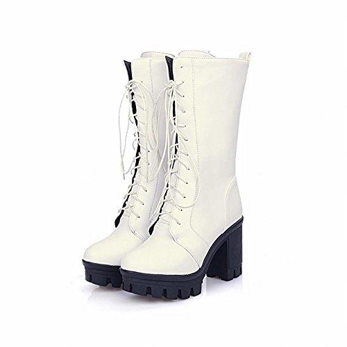 High Carol Heel Mode Weiß Schuhe Stiefel Damen Western Schnürung Biker IZPZCxwS