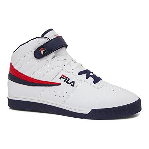 Fila Men's Vulc 13 Mid Plus 2 Walking-Shoes, White Navy Red-125, 14 D US