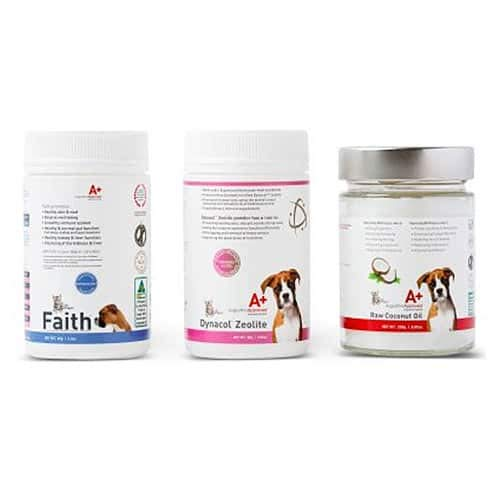 Augustine Approved Cleanse & Detox Value Bundle for Dogs Cats Pets with Faith 65g, Dynacol Zeolite 80g and Virgin Cold Pressed Coconut Oil 250g