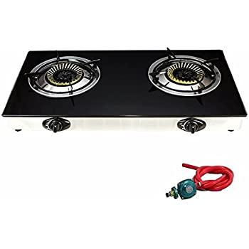 (US Stock)Youzee Propane Gas Range Stove Deluxe 2 Burner Auto Ignition Tempered Glass Cooktop