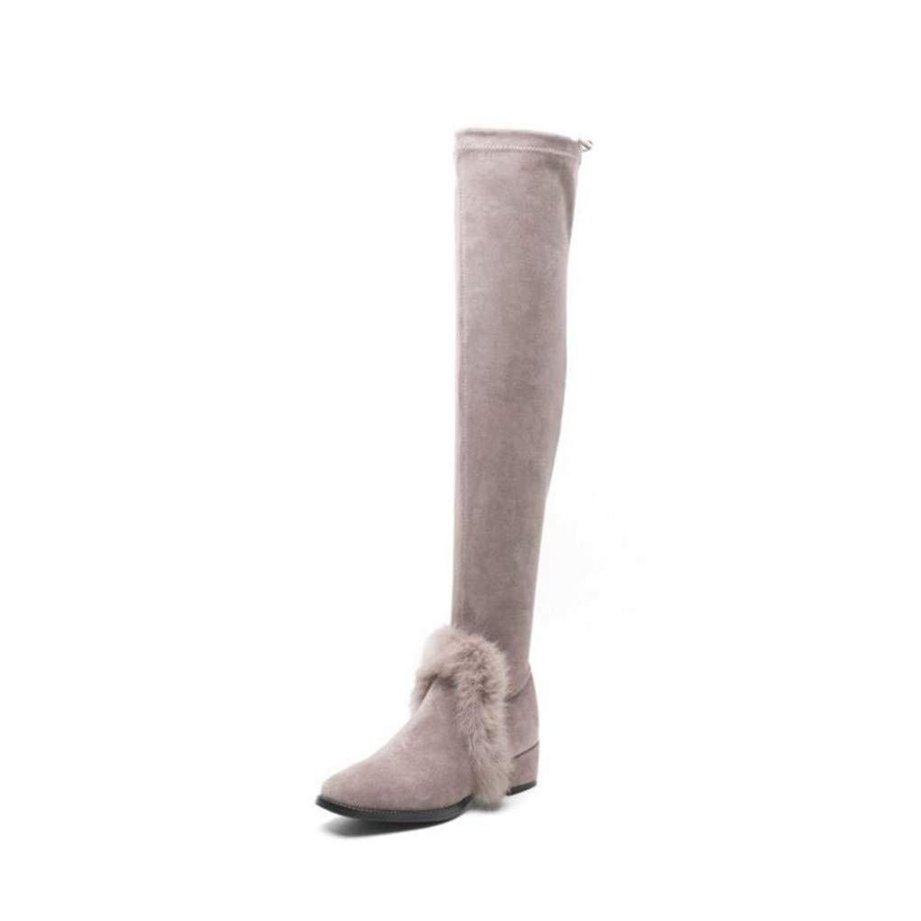 HAOLIEQUAN Frauen High Heel Heel Heel Stiefel Bowknot Warme Schuhe Frauen Winter Über Knie Stiefel Mode Schuhe   Größe 33-44  a06dd9