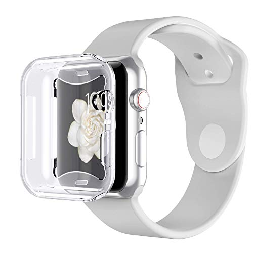 Curved Cascade Fountain - Tech Express 360° Clear Protection Screen Protector Case Apple Watch Series 4 40mm, 44mm [iWatch Cover] Skin Rugged TPU Gel Case Anti Scratch Shockproof Accessories Tough Bumper Full Body (44mm)