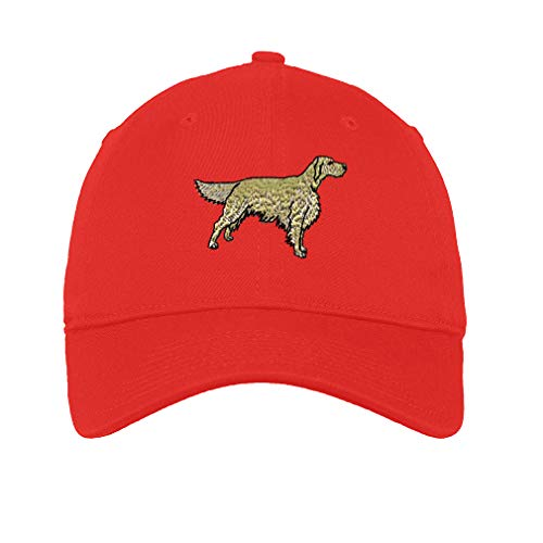 Low Profile Soft Hat Golden Retriever A Embroidery Dog Name Cotton Dad Hat Flat Solid Buckle - Red, Design Only