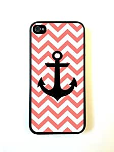 Anchor Coral Chevron Black- iPhone 5 Case - For iPhone 5/5G - Designer PC Case Verizon AT&T Sprint