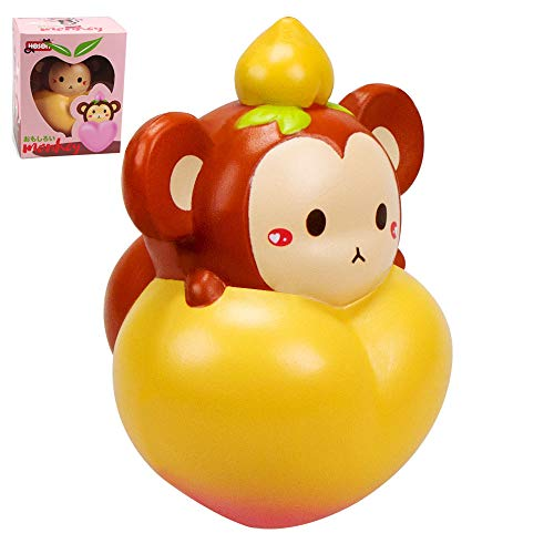 VLAMPO 6.5inch Soft Slow Rising Squishies Jumbo Giant Animal Squishy Toys Scented Animals Squishy Collection Cute Squeeze Toy Adult Stress Relief Toys Fun to Play Monkey Squishies for Kids Girls Boys