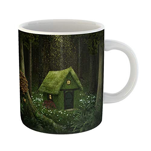 Emvency Coffee Tea Mug Gift 14 Ounces Funny Ceramic Fantasy Little House of Moss in Enchanted Forest Cottage Gifts For Family Friends Coworkers Boss Mug