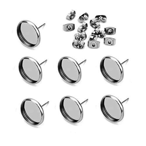 40pcs 10mm Stainless Steel Blank Stud Earring Bezel Setting for Jewelry Making with 40pcs Surgical Steel Earring Backs DIY Findings - Earrings Cabochon White