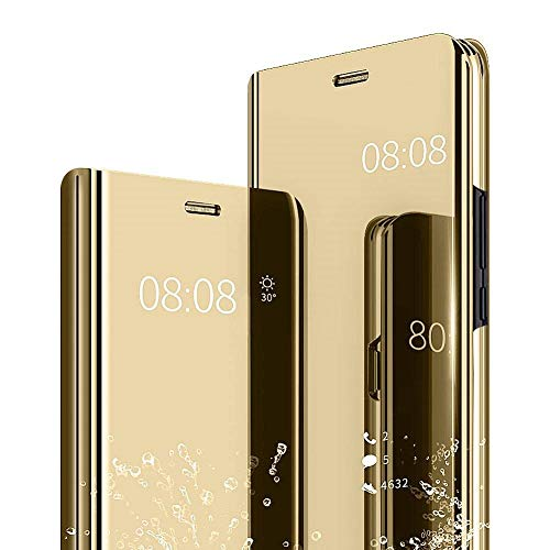 Samsung S9 Plus Mirror Case Metal Flip Stand Phone Cover Full Protective Case. (Samsung S9 Plus, Gold)