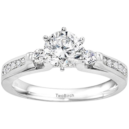 .77CT C&C Moissanite Traditional Three Stone Promise Ring in Silver(Size 3 to 15, in 1/4 Sizes) by TwoBirch