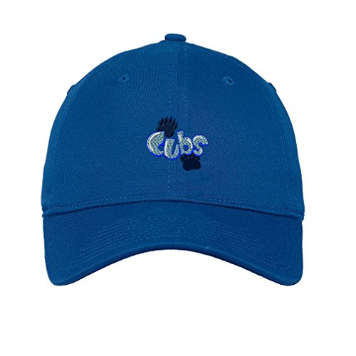 Cubs Logo Embroidery Unisex Adult Flat Solid Buckle Cotton 6 Panel Low Profile Hat Cap - Royal Blue, One Size