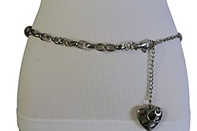 TFJ Women Fashion Silver Metal Chains Belt Love Heart Charm Plus M L XL