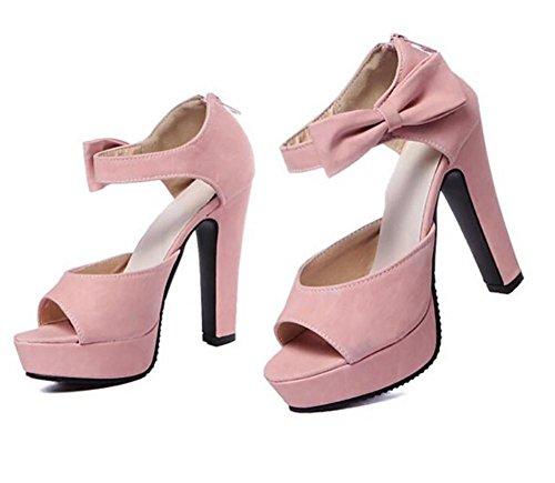 Syy Liangxie Rosado Mano De naranja Las Pu Vestido Sandalia 42 Mujeres Arco Bomba La Del Plataforma Pescados Pink Los Bdrwqd6n