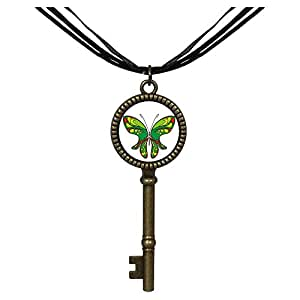 Chicforest Bronze Retro Style Exotic Green Butterfly Jewelry Vintage Key Pendant