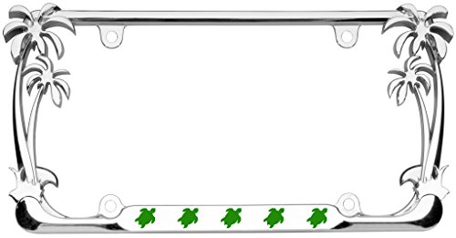 Turtle Animal Palm Tree Design Chrome Metal Auto License Plate Frame Car Tag Holder with car banner flag (Sea Animal License Plate Frame)