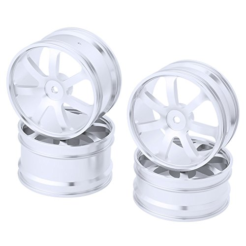 4PCS Front & Rear Aluminum Wheel Rims 12mm Hex Hub Diameter:62mm 7 Spokes CNC For HSP Redcat Shockwave / Tornado Epx (PRO) / S30 1/10 Off Road Buggy