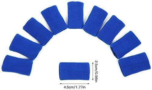 Goliraya 10 Stück Fingerhülsen Sportelastische Fingerhülsen unterstützen Daumenstütze Protector Breathable Elastic Finger Tape