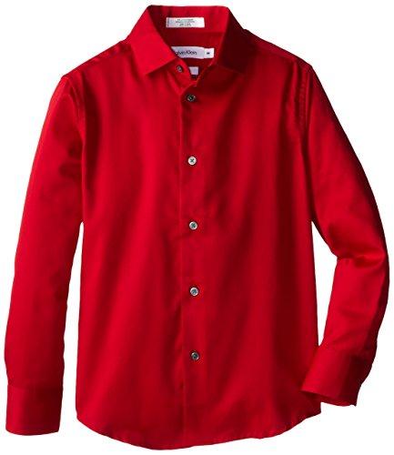 Calvin Klein Big Boys' Long Sleeve Sateen Dress Shirt, Dark Red, 14 (Red Sleeve Button Long)