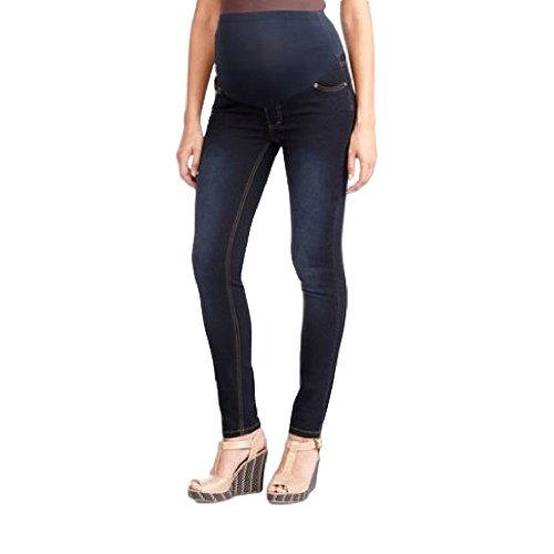 RUMOR HAS IT Maternity Over The Belly Super Soft Stretch Skinny Jeans (X Large, Dark)