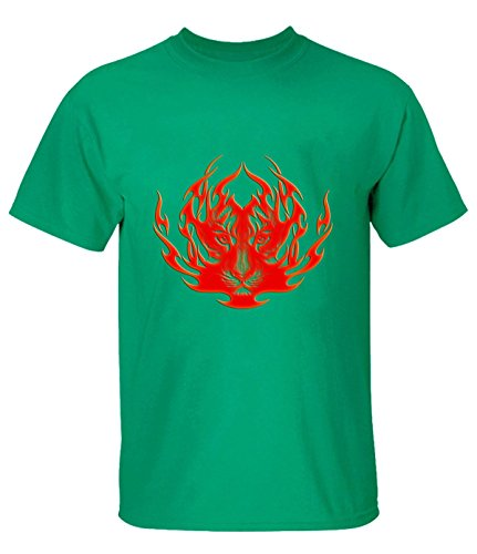 Ta Dey Cool Burning Flame Tiger T Shirt for Mens S green