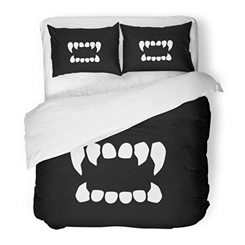 SanChic Duvet Cover Set Vampire Vampire's Teeth Neutral Tooth Fang Dracula Scary Halloween Decorative Bedding Set Pillow Sham Twin Size -