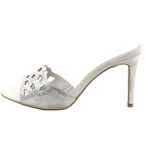 Sopily - Scarpe da Moda scarpe decollete sandali Stiletto alla caviglia donna strass Perforato Tacco Stiletto tacco alto 8.5 CM - Argento