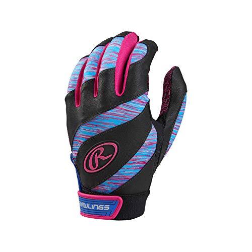 Glove Fastpitch Womens Batting (Rawlings FPEBG-PK-88 Rawings Eclipse Batting Gloves, Blue/Pink)