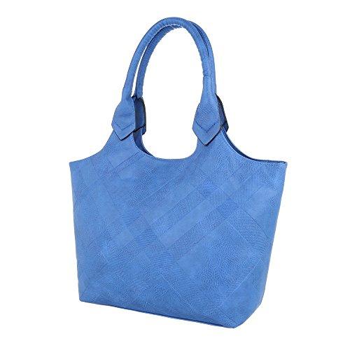 iTal-dEsiGn Damentasche Mittelgroße Handtasche Tragetasche Used Optik Kunstleder TA-3102 Blau YcBXJdBp