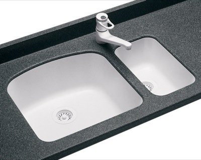 Swanstone US01711SB.018 Solid Surface Undermount Single-Bowl Kitchen Sink, 11-in L X 17.75-in H X 6.75-in H, Bisque