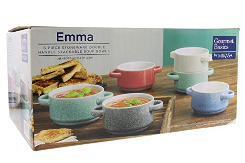 Gourmet Basics Emma by Mikasa - Double Handle Stackable Bowls w/Durable Stoneware & Speckled Glaze Finish-Microwave & Dishwasher Safe-Great for Soups, Chili, Stews, Side Dishes, 26oz, Set of -