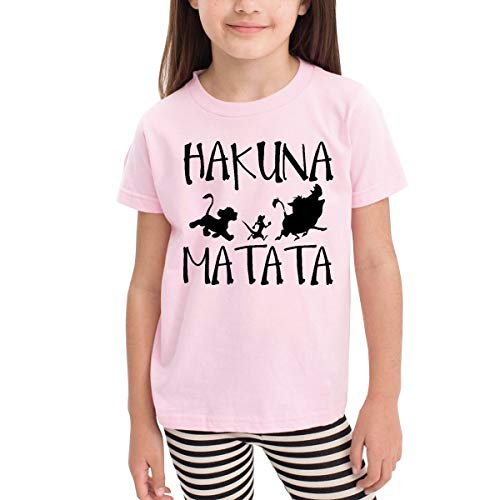 Rusuanjun Hakuna Matata Children's T-Shirt Pink 5/6T Fun and Cute]()