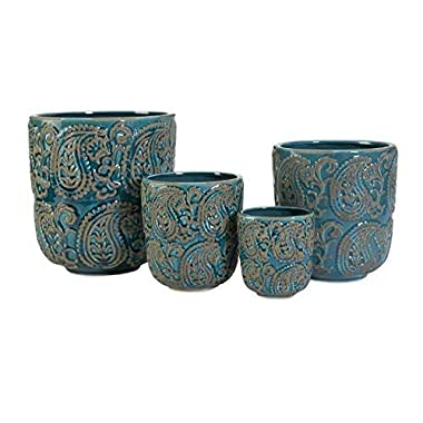 IMAX 64329-4 Paisley Blue Planters – Set of 4 Garden Planters, Ceramic Pots for Indoor Plants. Home Decor Accessories