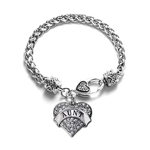 Inspired Silver - Aunt Braided Bracelet for Women - Silver Pave Heart Charm Bracelet with Cubic Zirconia Jewelry