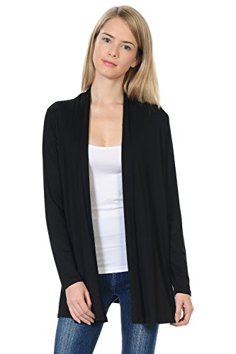 Pastel by Vivienne Women's Long Sleeve Jersey Cardigan Large Black ()