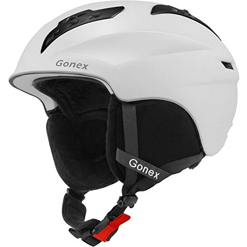 nter Snow Snowboard Skiing Helmet with Safety Certificate for Men, Women & Young Size L Adjustable 58-61cm Matte White ()